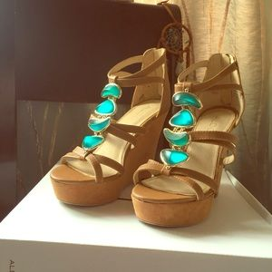 Tan Wedges with Beautiful Embellishments